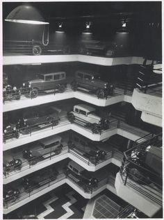 Garage Marbeuf by Albert Laprade and Léon-Emile Bazin, 1920 Nocturne, Paris 1920s, Automobile, Bw Photography, Champs Elysees, Gas Station, Garages, Retail Design, Architecture