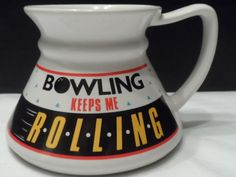 """$24.95/ No spill Sports coffee cup/mug says """"Bowling Keeps me Rolling"""" & holds 8 oz.  ~great gift for Fathers Day or birthday!  ~kitchen ~~view over 500 items in over 20 categories of merchandise in my ebay store. I ship globally... SHIPPING is ALWAYS FREE in the states www.shellyssweetfinds.com"""