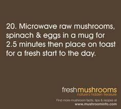 #Breakfast #Tip for Tomorrow - Microwave mushrooms and eggs in a mug