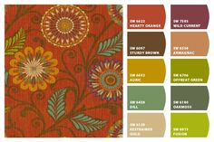 HGTV Home Decor Print Fabric Urban Blosson Harvest - Chip It Sherwin Williams Colors
