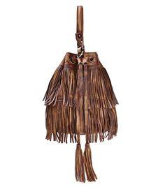 3fe33c0fdf ZLYC Women Handmade Dip Dye Leather Mini Bohemian Fringe Tassel Drawstring  Bucket Bag Brown  gt . Crossbody ...