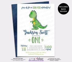 Dinosaur Birthday Invitation - Trex Watercolor Boy Birthday Invite - Modern Dino First Birthday Invite - Boy Blue Green Baby Shower Invite by ZoeyBlueDesigns on Etsy https://www.etsy.com/listing/539622251/dinosaur-birthday-invitation-trex