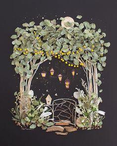 Shop unique flower art prints of magical places by Vicki Rawlins. Find a flower print that inspires you and those you love! Art Et Nature, Deco Nature, Nature Crafts, Art Floral, Arte Pop Up, Diy And Crafts, Paper Crafts, Easy Crafts, Pressed Flower Art