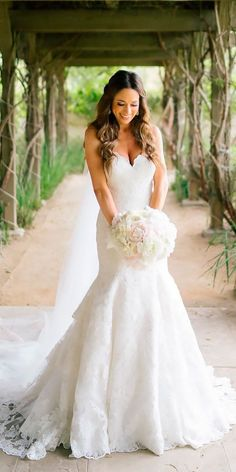 30 Beautiful Wedding Dresses By Top USA Designers ❤ beautiful wedding dresses strapless sweetheart mermaid lace allure bridals ❤ See more: http://www.weddingforward.com/beautiful-wedding-dresses/ #weddingforward #wedding #bride