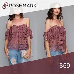 🎉TODAY ONLY SALE🎉Off The Shoulder Top in Mauve 🎉Sale🎉 Off The Shoulder Knit Top in Mauve Aluna Levi Tops