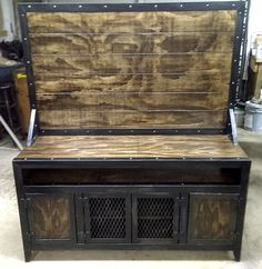 industrial steel and wood media console/cabinet with flat screen tv mounting board by IdustrialEvolutionFurnitureco. on Etsy, $1,500.00