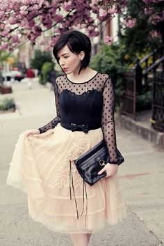 black lace polka dot top + ivory cream lace and tulle skirt