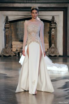 inbal dror bridal fall winter 2015 gown 16 illusion long sleeve wedding dress double slit skirt