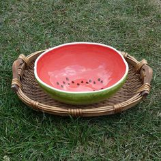 Large Watermelon Serving Bowl by vegetabowls on Etsy