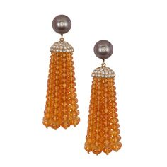 Goshwara Mandarin Garnet, Pearl & Diamond Tassel Earrings
