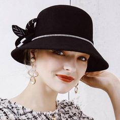 cf0d03c0fc8 Flower wool bucket hat for women vintage winter wide brim felt hats