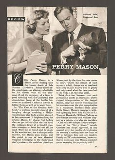 1958 TV Review Article of Perry Mason with Raymond Burr and Barbara Hale.