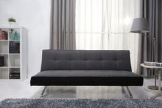 Homewish - Rialto Fabric Futon Sofa Bed, in a Modern Pebble Grey by Leader Lifestyle