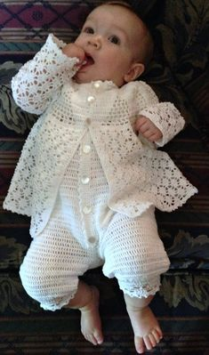 Baby Boy Christening Outfit Crochet Pattern with Lace Jacket, Rompers, Bonnet, and BootiesThis crochet pattern combines the delicate lace of a traditional christening gown with the sporty look of today's baby boy fashion. The result is a sweet but Baby Boy Christening Outfit, Christening Gowns, Baby Baptism, Baptism Dress, Baby Knitting Patterns, Baby Patterns, Crochet Patterns, Cardigan Bebe, Baby Overall