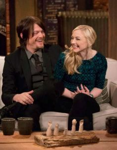 Norman Reedus & Emily Kinney. The Walking Dead's Daryl and Beth. #gc Bethyl The Talking Dead.