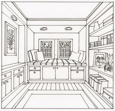 Bedroom Drawing One Point Perspective line drawing office bedroom | moleskin books | pinterest