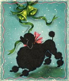 Vintage Christmas poodle card