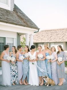 See the latest bridesmaid dress trends and learn the rules of bridesmaid attire. Patterned Bridesmaid Dresses, Light Blue Bridesmaid Dresses, Bridesmaid Separates, Blue Bridesmaids, Wedding Bridesmaid Dresses, Team Bride, Bridesmaid Inspiration, Dusty Blue, The Dress