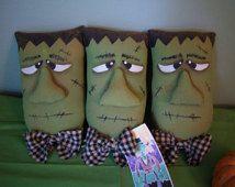 PaTTeRn~PRiMiTiVe FoLk Art HaLLoWeeN Frankenstein BoWL FiLLeR OrNie TuCk AwAyS