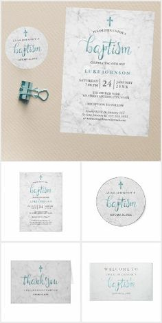 Modern Marble Blue Baptism Invitations and accessories.  Personalize.