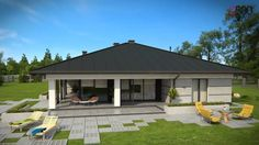 "This is ""Projekt Domu by on Vimeo, the home for high quality videos and the people who love them. House Layout Plans, House Layouts, Single Storey House Plans, 4 Bedroom House Designs, Single Floor House Design, Modern Family House, House Plans Mansion, House Blueprints, Architectural Design House Plans"