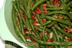Browned Butter Green Beans with Bacon and Pecans  Fresh green beans, blanched then seasoned with onion, garlic and herbs, and tossed with bacon and pecans and a browned butter pan sauce.