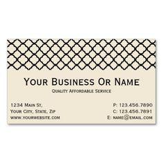 Ivory Cream & Black Quatrefoil Name Or Business