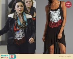 Aria's tiger face and rose graphic dress on Pretty Little Liars.  Outfit Details: http://wornontv.net/33379/ #PLL