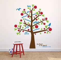 Fruit of the Spirit wall decal, Tree decal Kids room decor, sunday school decor