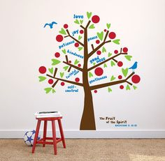 Fruit of the Spirit wall decal, Tree decal Kids room decor, sunday school decor