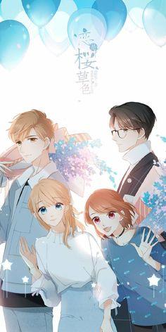 Love like Cherry Blossoms - sophie Anime Cupples, Anime Angel, Otaku Anime, Anime Chibi, Kawaii Anime, Anime Love Couple, Cute Anime Couples, Familia Anime, Romantic Manga