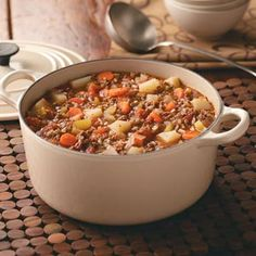 Hamburger Stew. So easy and the kids loved it. I added minced garlic, just used about 1/2 lb of meat and used fire-roasted tomatoes. Great weeknight dinner.