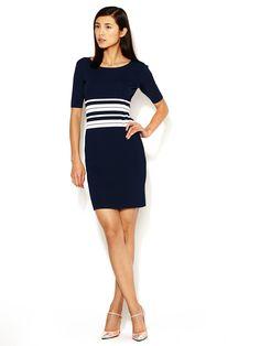 3/4 Sleeve Stripe Knit Dress by Pink Tartan at Gilt