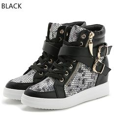 (Buy here: http://appdeal.ru/1g79 ) New Women Boots Mixed Colors Wedge Concealed High Top Platform Casual Shoes For Women Fashion Buckle Hidden Wedge Ankle Shoes for just US $48.66