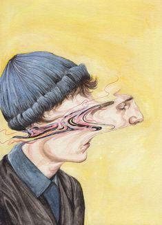 Henrietta Harris – view more (warped) images @ http://www.juxtapoz.com/Illustration/henrietta-harris# – #illustrations #portraits #bizarre