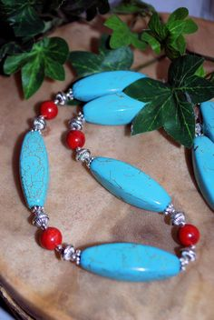 Turquoise Magnesite Red Coral Southwestern Native by SoulfulStuff, $30.00