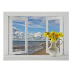 At the Beach -- Open Window View with Daffodils Posters:   Wake up at the beach every day! This lovely scene of the shining ocean and a sandy beach is framed by an open window. The white painted window has two panes and creates the impression of looking out through a real window to admire the ocean view beyond. A white ceramic pitcher of yellow daffodills sits on the window ledge.  #beachwindow #windowposter #top50onzazzle