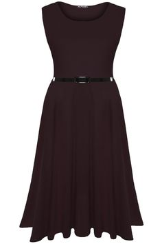 Oops Outlet Women's Plain Belted Sleeveless Flared Swing Midi Skater Dress S/M (US 4/6) Chocolate Brown