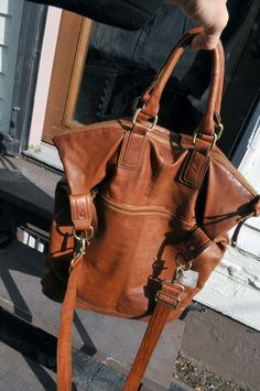 Large Brown Leather Crossbody Carry All Satchel Bag Purse. $135.00, via Etsy.