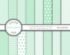 Green Digital Paper - Mint Green - Instant Download - Commercial Use - green chevron, green polka dots, green quatrefoil - Pastel Green