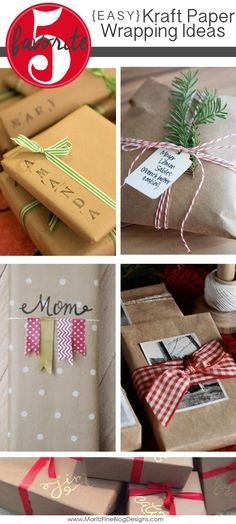 Try one of these Easy Kraft Paper Wrapping Ideas for your Christmas presents this year. Celebrating a different occasion? Change the color scheme and these ideas will work for birthdays or other holidays!
