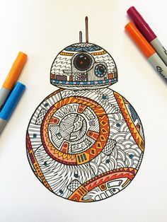 8.5x11 PDF coloring page of BB8!  Fun for all ages.  Relieve stress, or just relax and have fun using your favorite colored pencils, pens,