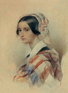 Portrait of Alexandra Smirnova-Rosset by Pyotr Fyodorovich Sokolov 1834 Russian Poets, Russian Art, Watercolor Portraits, Watercolor Art, Painting Portraits, Lady In Waiting, Victorian Women, Woman Painting, Vintage Posters