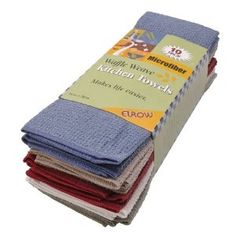 Eurow microfiber waffle weave kitchen towels - This is a 10-pack of superior quality microfiber waffle weave kitchen towels. These towels are softer than cotton and more absorbent than a chamois. Microfiber swiftly dries large surfaces with minimal effort due to its absorbent properties, allowing it to retain up to ten times its weight in water. These amazing towels hold the ability to polish while drying for a lint and streak free finish every time! Matching dish cloths are available!