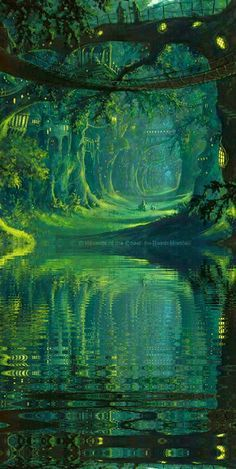 The Magic Faraway Tree, tree over the mysterious river, lake concept art landscape green nature world environment scene, speed painting Fantasy Artwork, Fantasy Art Landscapes, Fantasy Concept Art, Fantasy Places, Fantasy World, Fantasy Forest, Magic Forest, Forest Elf, Mystical Forest
