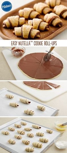 Nutella cookie roll ups - These surprisingly simple four-ingredient beauties made with pie crust will be a hit anywhere you serve them. Simply spread Nutella on pie crust and roll up into perfection. Nutella Cookies Easy, Nutella Rolls, Nutella Snacks, Nutella Deserts, Nutella Crescent Rolls, Nutella Pie, Nutella Breakfast, Baking Recipes, Dessert Recipes