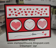 Stampin' Up!- A neat Valentines card created using the new 'Hello Life' set & the Confetti Heart Border Punch!