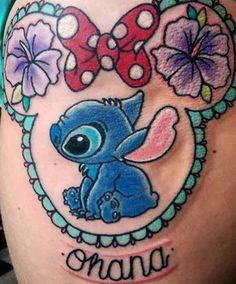 ohana Thanks for sitting so well loved doing this one! (Hard to get a photo due to wrapping slightly! Pretty Tattoos, Love Tattoos, Unique Tattoos, Beautiful Tattoos, Body Art Tattoos, Awesome Tattoos, Lilo Stitch, Lelo And Stitch, Matching Disney Tattoos
