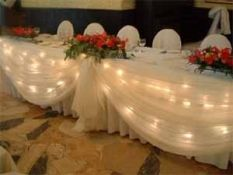 Head table, buffet table, and/or gift table idea of pink/black tulle with the white xmas lights.
