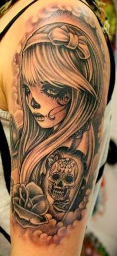 pin up skull tattoo